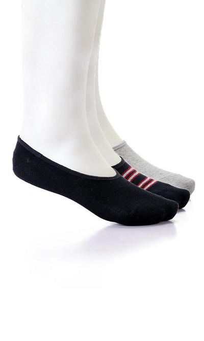 49524 Striped & Solid Set Of 3 Pairs Invisible Socks - Navy Blue , Grey And Black - Ravin