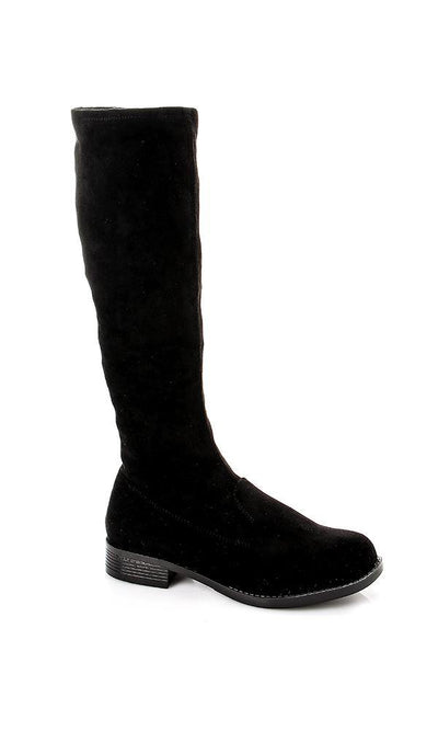 49557 Oval Suede Knee Boots - Black - Ravin