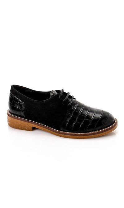 49566 Crocodile With Suede Oxford Shoes - Black - Ravin