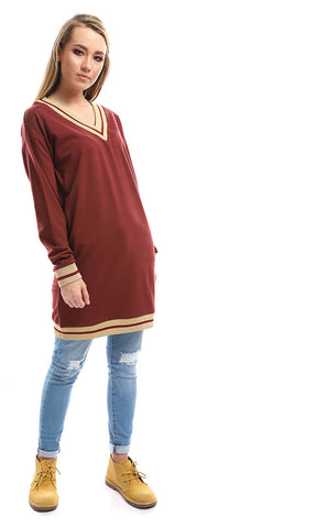 50054 V- Neck Bi-Tone Burgundy & Gold Sweater
