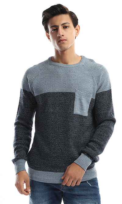 50059 Bi-Tone Men's Long Seeves Pullover - Babe Blue & Navy Blue