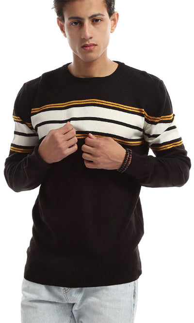 50060 Tri-tone Rounded Elegant Men Pullover - Black