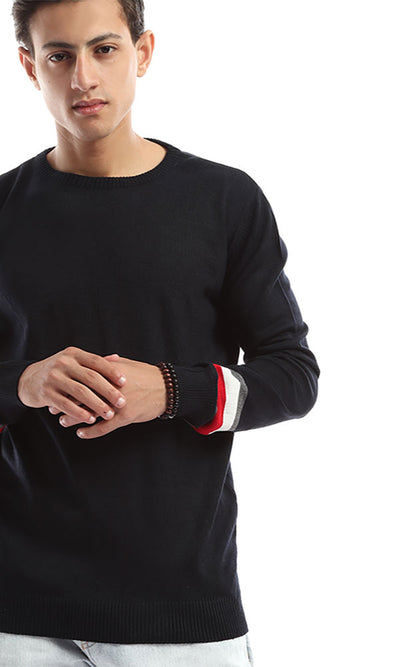 50062 Tri-Tone Sleeves Unique Pullover - Navy Blue