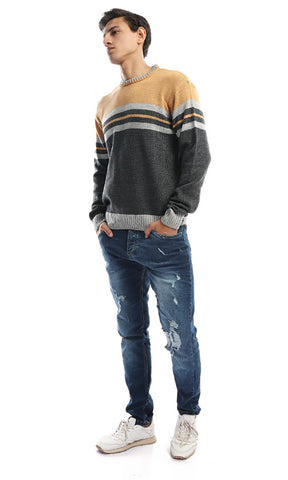 50070 Fine Gage Tr-Tone Crew Neck Pullover - Mustard & Grey &Light Grey