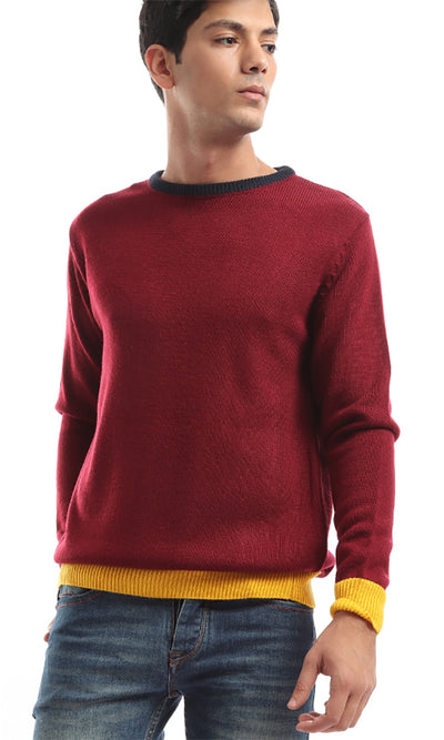 50079 Tri-Tone Men's Long Seeves Pullover - Navy Blue & Yellow & Maroon