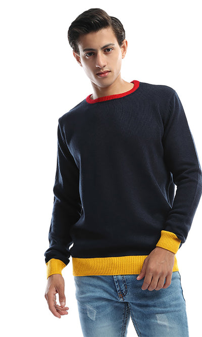 50080 Tri-Tone Men's Long Seeves Pullover - Navy Blue & Yellow