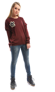 50123 Crochet Flower Crew Neck Burgundy Pullover