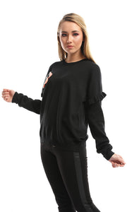 50124 Crochet Flower Crew Neck Black Pullover