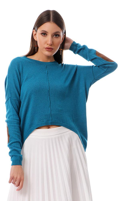 50150 Patched Sleeves Crew Neck Teal Blue Pullover - Ravin