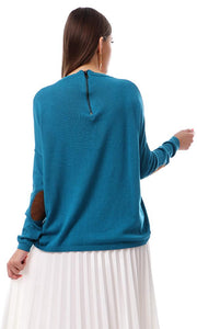 50150 Patched Sleeves Crew Neck Teal Blue Pullover