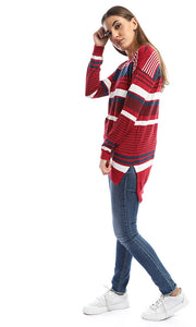 50154 Hi-Low Striped Dark Red Pullover