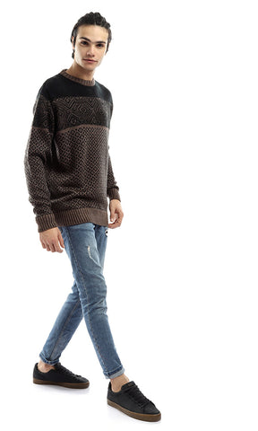 50169 Decorated Rounded Winter Warm Pullover - Black & Brown
