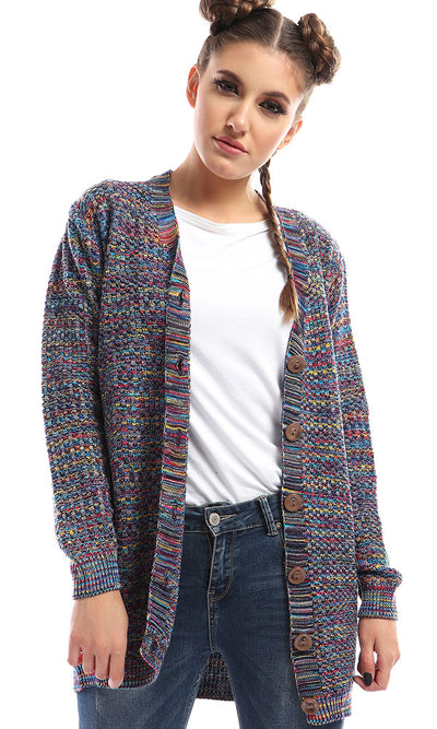 50178 Simply Buttoned Knitted Chic Cardigan - Blue & Yellow