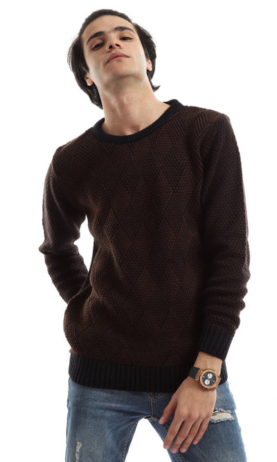 50200 Burnt Brown Chunky Knit Pullover