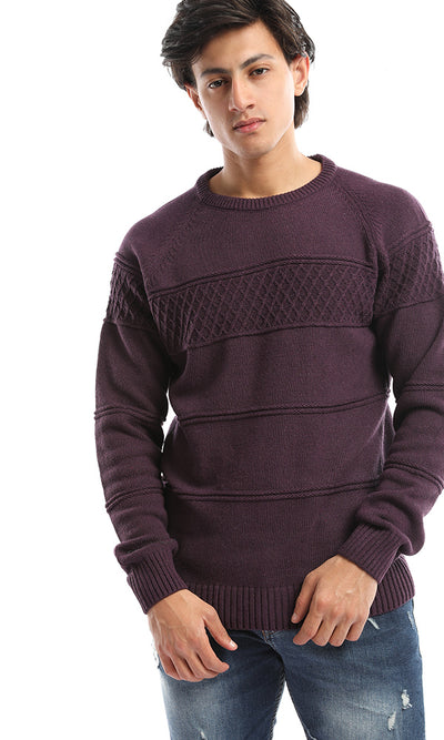 50204 Men Knit Round Neck Mauve Pullover