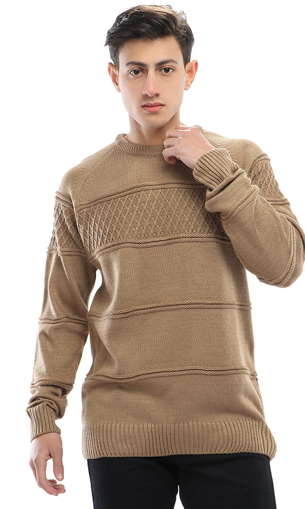 Argyle Knitted Pullover - Coffee