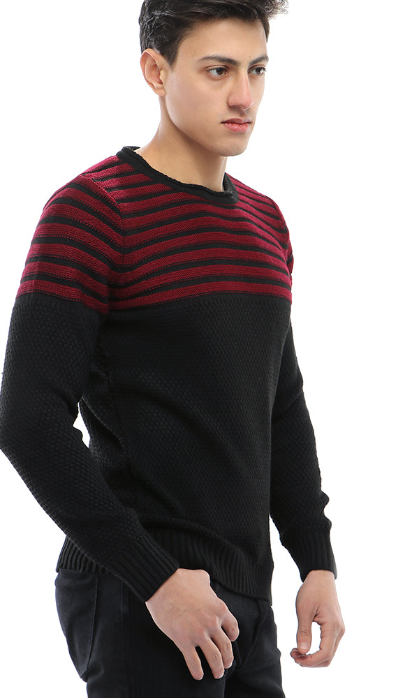 Chalk Stripe Knitted Pullover - Maroon & Black