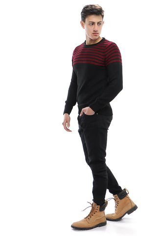 50212 Chalk Stripe Knitted Pullover - Maroon & Black