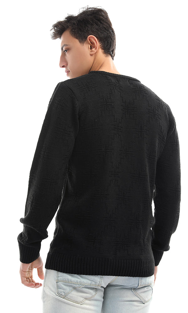 50214 Rounded Winter Warm Unique Black Pullover