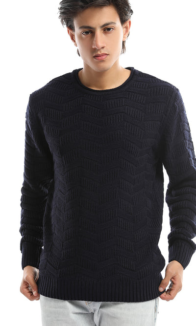 50215 Crew Neck Hemed Navy Blue Pullover