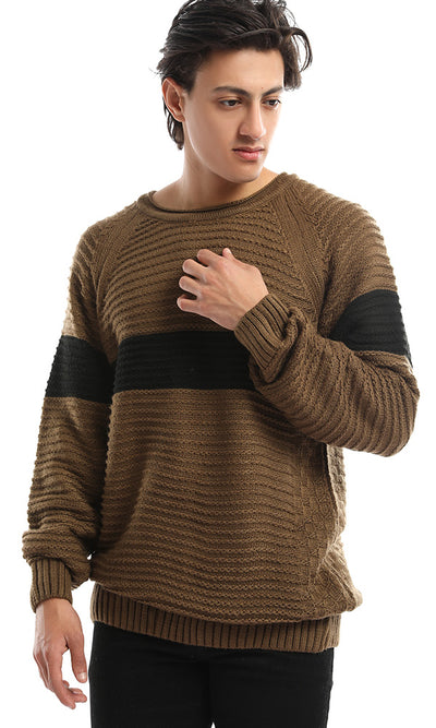 50217 Crew Neck Color Block Hemed Khaki & Black Pullover