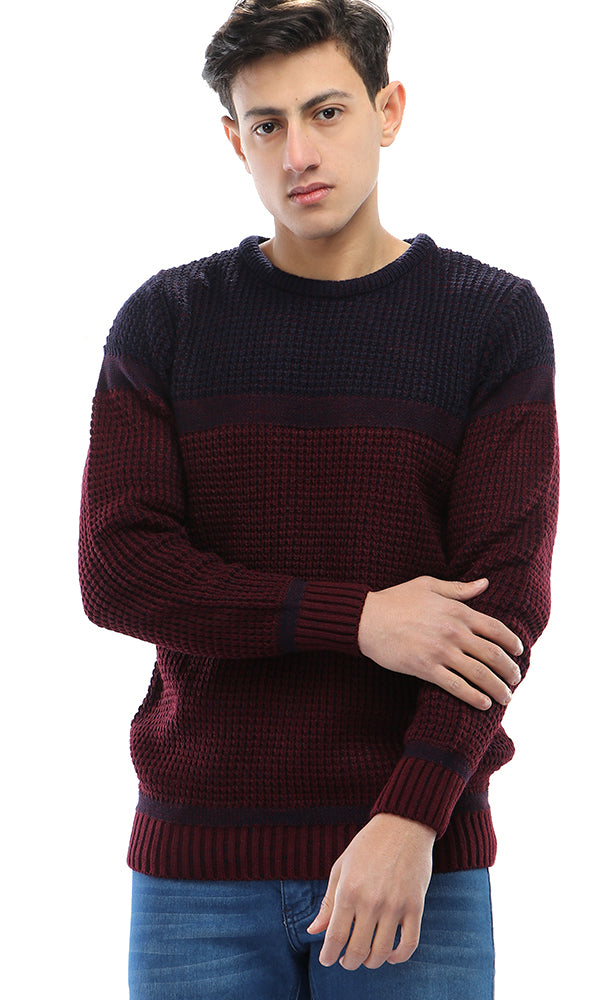 Essential Winter Knitted Pullover - Maroon & Navy Blue