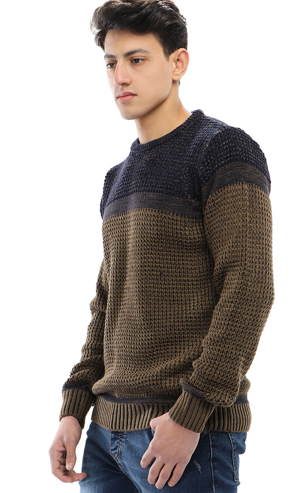 Casual Knitted Pullover - Dark Khaki