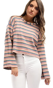 50243 Striped Colourfull Long Sleeves Pullover - Multicolour