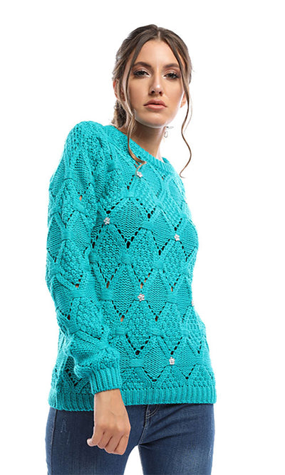 50249 Strass Cute Pullover - Aquamarine