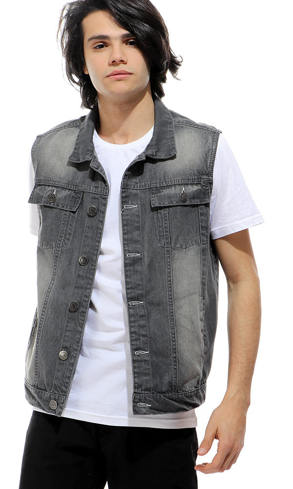50271 Sleeveless Wash Out Grey Jeans Vest