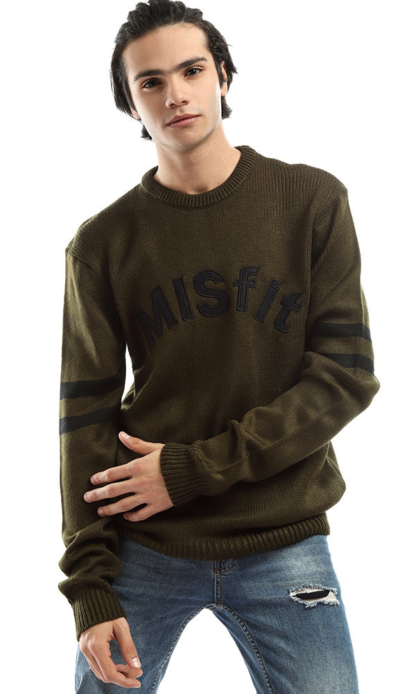 Misfit Rounded Unique Men Olive Pullover