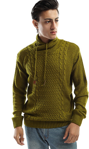 50276 Hooded Knitted Pullover - Olive