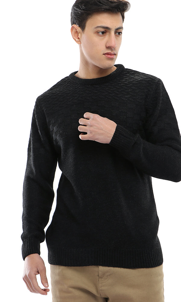 Geometric Knitted Pullover - Black