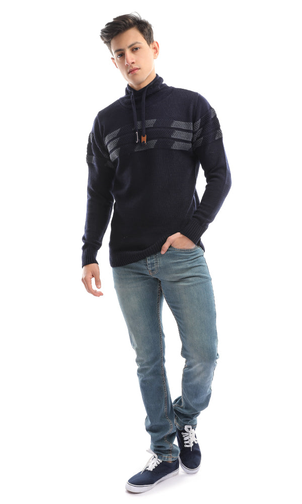50327 Unparalleled Knitted Navy Blue Pullover