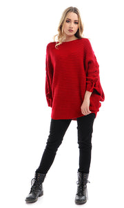 50341 Batwing Over Sized Pullover - Red