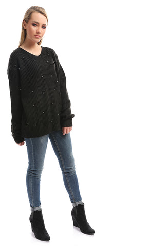 50343 Pearls Crew Knit Black Pullover