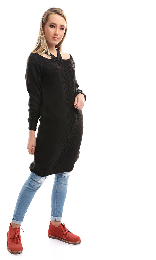 Neck Wrap Luxurious Black Jumper