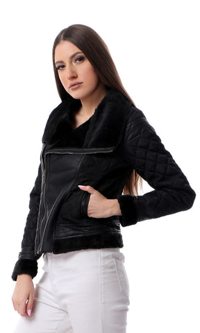 50390 Quilted Black Jacket With Wing Collar