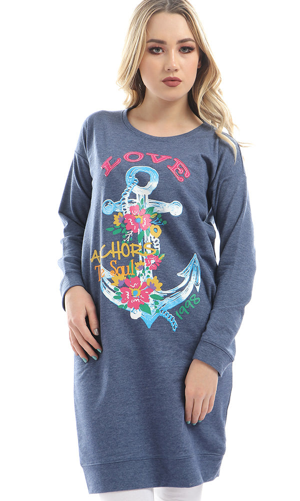 Printed Floral Anchor Heather Navy Blue Long Sweatshirt
