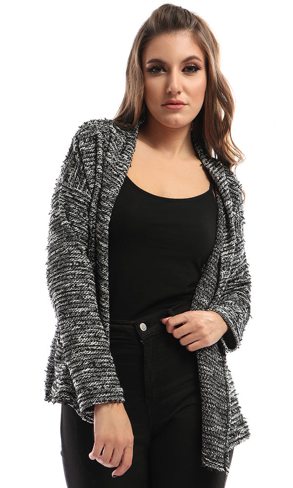 Front Open Glittery Cardigan - Black & White
