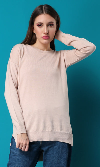 50471 Me More Moccasin Beige Knit Basic Sweater