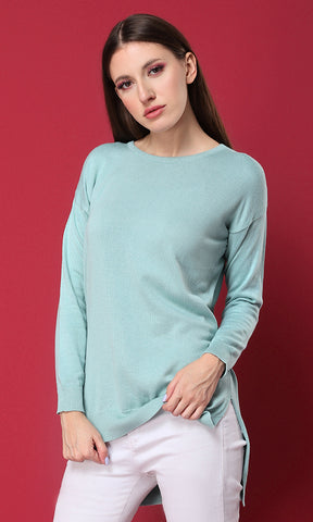 50472 Plain Knitted Basic Pullover - Pastel Green