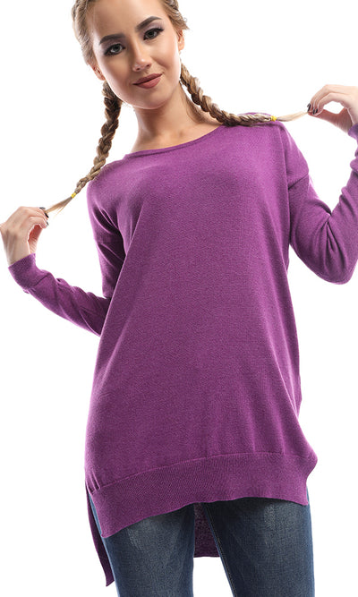 50473 Glowy Plain Purple Women Pullover