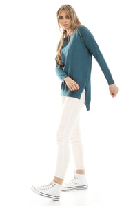 50474 Solid High Low Basic Pullover - Dark Cyan