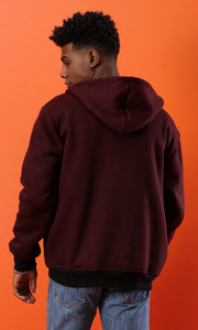 50489 Heather Maroon Winter Zipped Hoodie