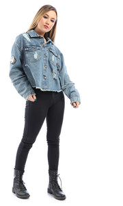 Sequins Patches Long Sleeves Ripped Jeans Jacket - Blue Jeans