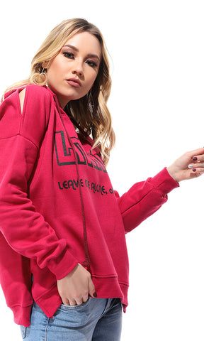 50603 Leave Me Alone-Printed Sweatshirt - Fuchsia