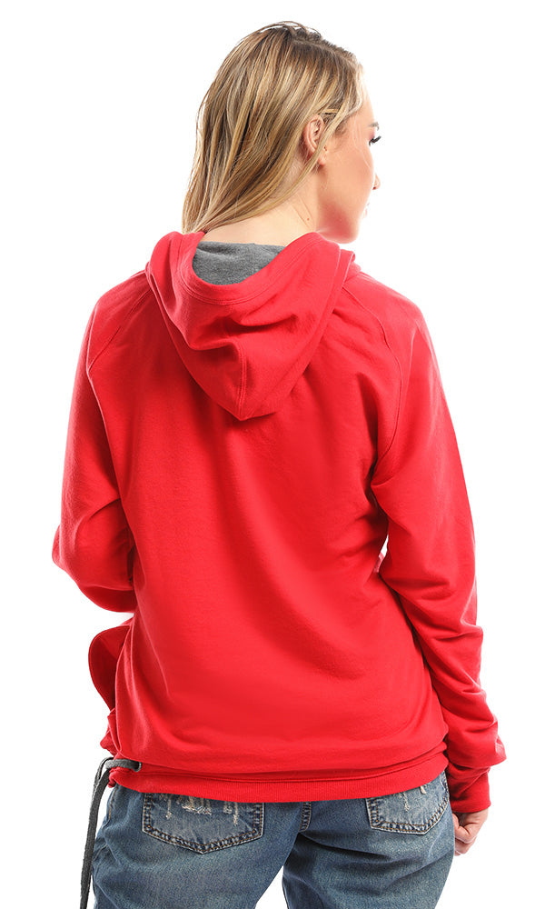Statement Grapic Print Red Hoodie