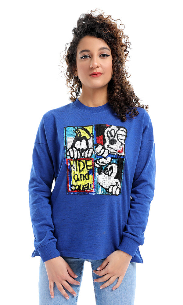 Sequins Stitched Royal Blue Side Zipped Sweatshirt