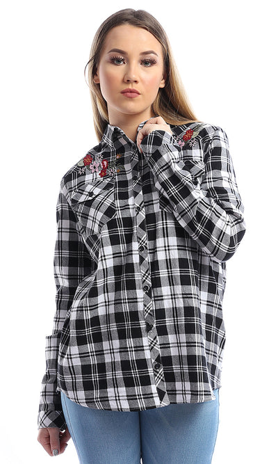 50659 Embrodiery Plaids Full Sleeves Black & White Shirt